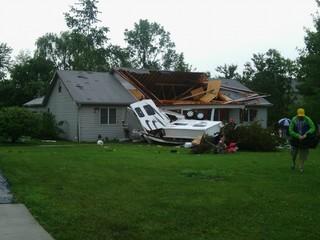 VIDEO: EF-1 tornado throws RV into Indy house