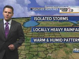 Warm, humid with chance of storms through Sunday