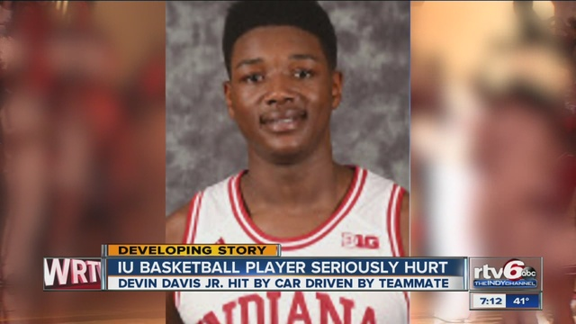 Iu basketball player devin davis hospitalized after being hit by