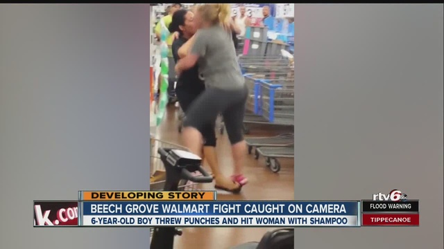 fight at indiana wal mart involving child caught on video