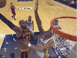 LeBron James dunk, meet Myles Turner block