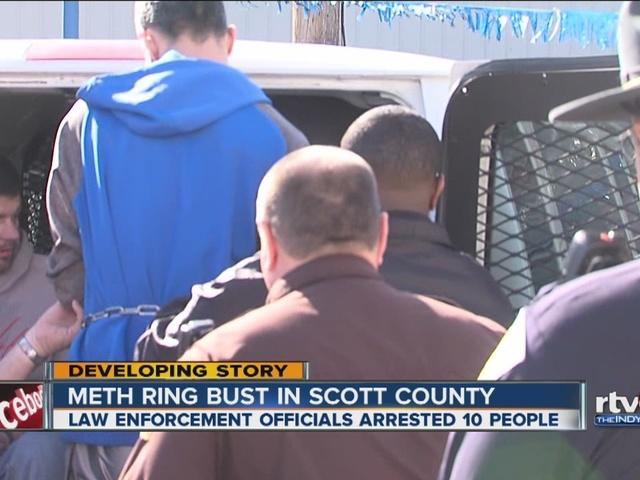 DEA and local police agencies arrest 10 people in meth bust