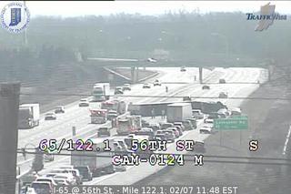 Overturned semi blocks lanes SB I-65 near 56th
