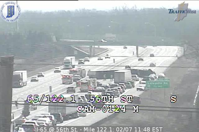 Overturned semi shuts down SB I-65 near 56th St.
