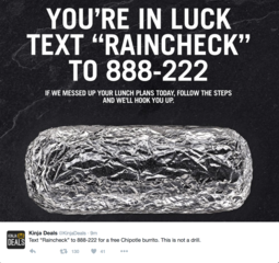 FREE BURRITO: Chipotle offers raincheck food