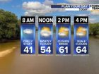 Today: Highs in 60s. Weekend warmth!