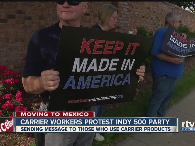 Carrier workers protest Indy 500 party