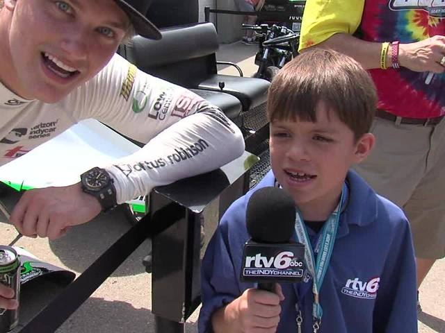 Jason Fechner and kid reporter Landyn Shaw at Carb Day: Part 4