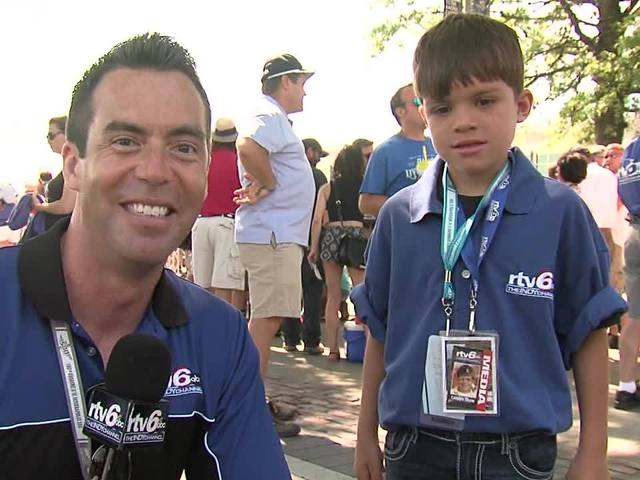 Jason Fechner and kid reporter Landyn Shaw at Carb Day: Part 1