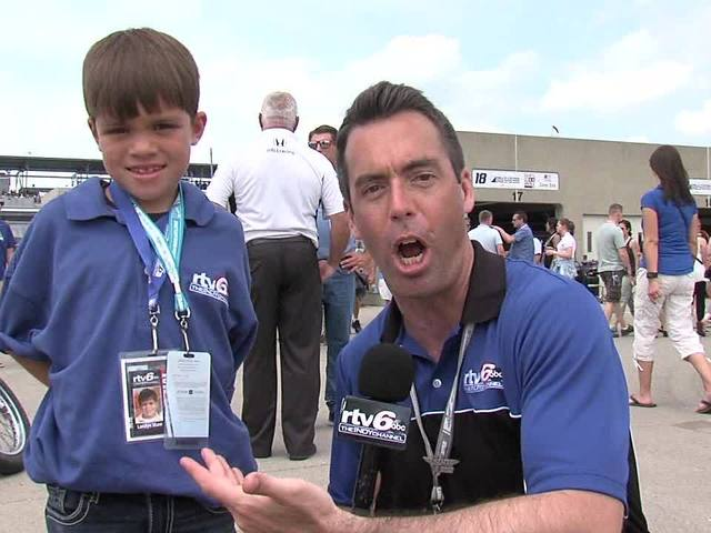 Jason Fechner and kid reporter Landyn Shaw at Carb Day: Part 5