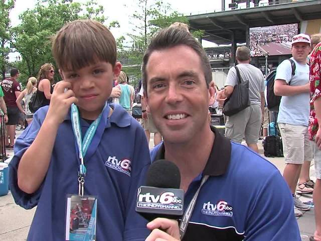 Jason Fechner and kid reporter Landyn Shaw at Carb Day: Part 7