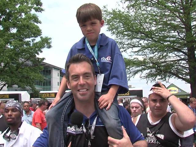 Jason Fechner and kid reporter Landyn Shaw at Carb Day: Part 6