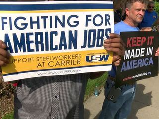 Union workers protest Carrier's Indy 500 party