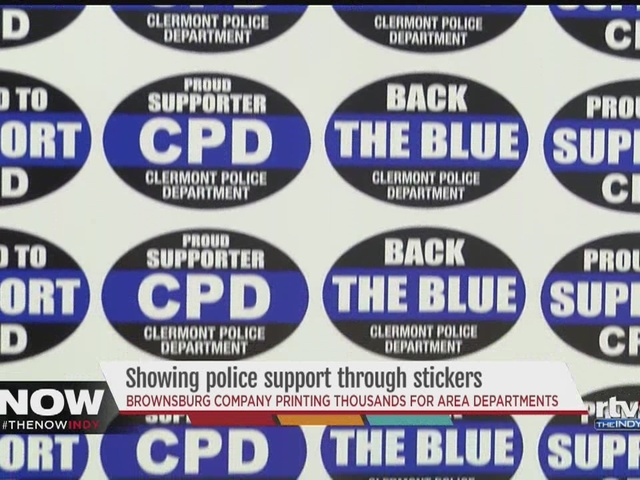 Indiana business owner prints out police-support stickers to give out for free