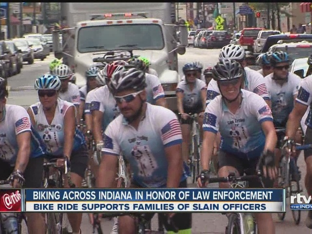 Biking across Indiana in honor of law enforcement