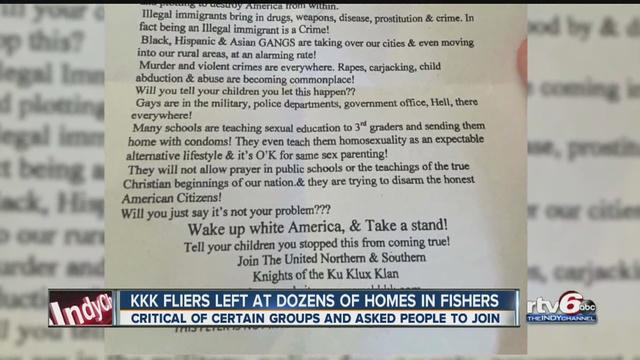 Fishers Residents Awaken To Ku Klux Klan Fliers On Their Lawns - Kkk us map howell