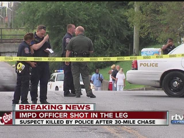 IMPD officer shot, suspect killed after chase