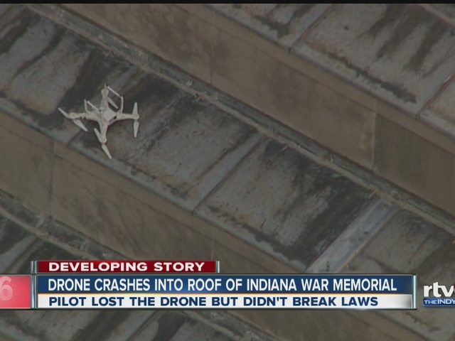 Drone crashes into roof of Indiana War Memorial