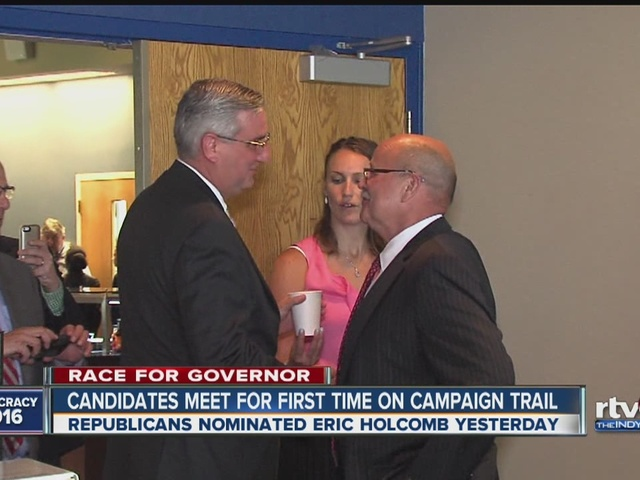Gubernatorial candidates meet for first time on campaign trail