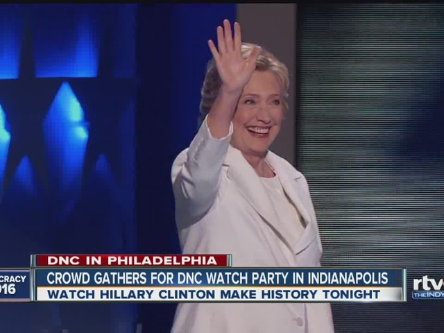 Crowd gathers in Indy to watch Hillary Clinton accept presidential nomination