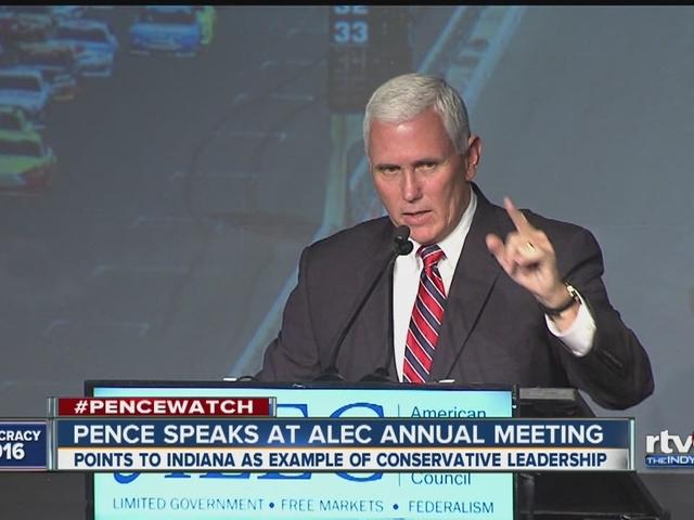 Gov. Pence speaks at ALEC meeting in Indianapolis