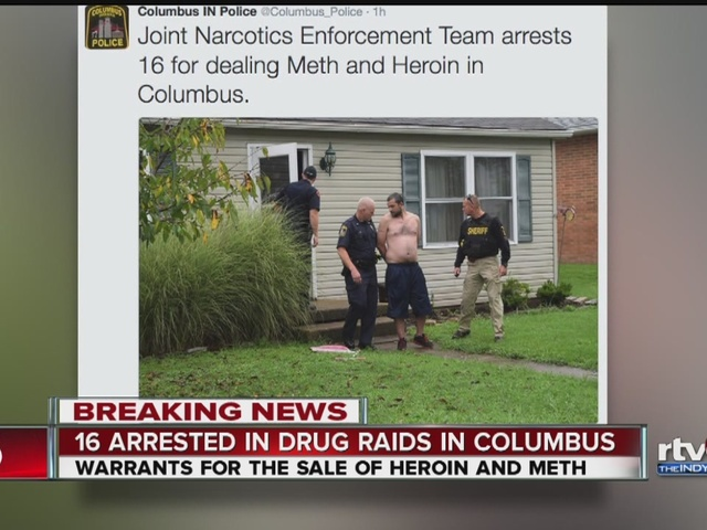Columbus police arrest 16 in drugs sweep Indianapolis IN