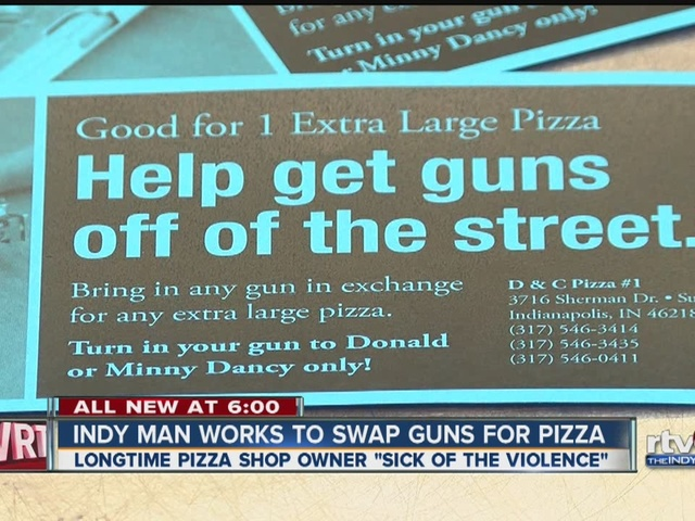 Indy man works to swap guns for pizza