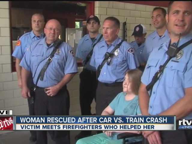 Woman thanks firefighters who saved her life