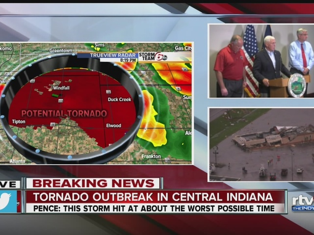 Gov. Pence addressing media on tornadoes in central indiana