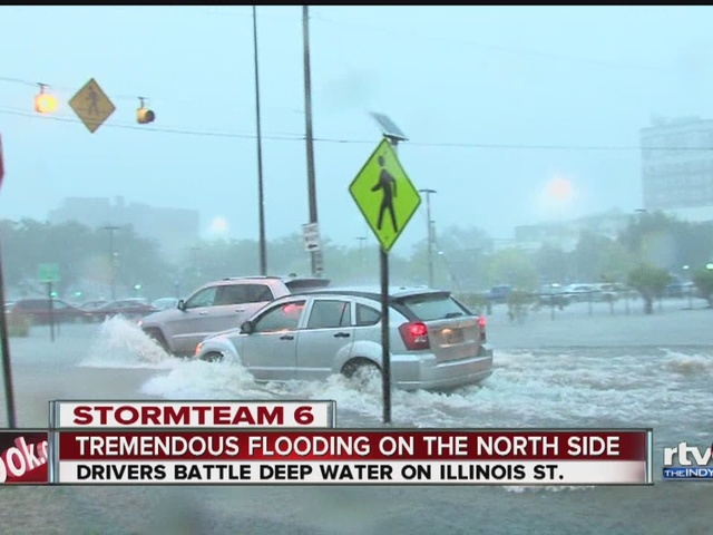 Flooding in downtown Indianapolis