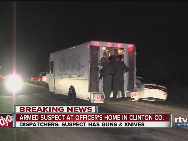 Armed suspect reported at officer's house in Clinton County