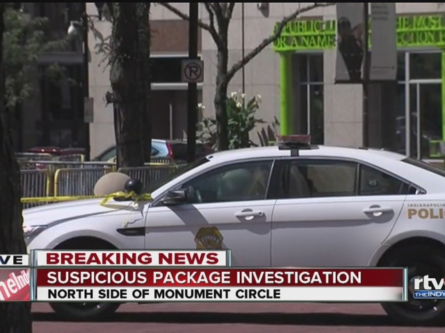 Suspicious packages close Monument Circle for lunch