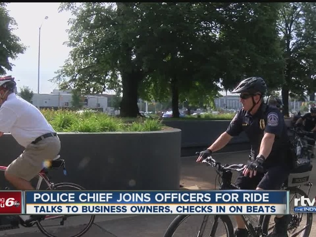 Indianapolis police chief Troy Riggs joins officers for bike ride