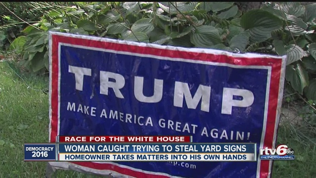 Karma comes swiftly for would-be Trump sign thief - TheIndyChannel.com Indianapolis, IN