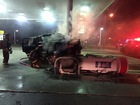 Vehicle strikes gas pump, causes fire