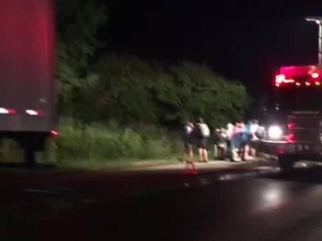 Megabus, semi crash on I-65
