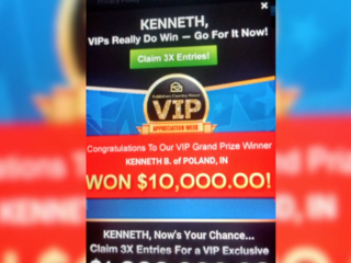 Clearing house mistakenly promises prizes