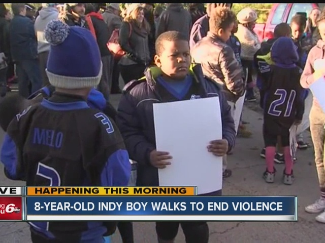 8-year-old Indy boy walks to end violence