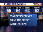 Mild evening followed by cooler Monday