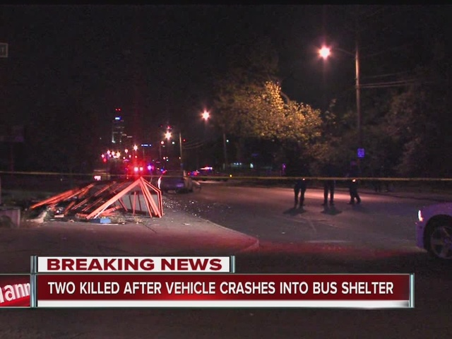 Two killed after vehicle crashes into bus shelter