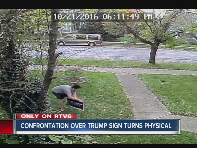 Confrontation over attempted theft of Trump sign turns physical