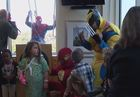 Superheroes scale down Riley Hospital