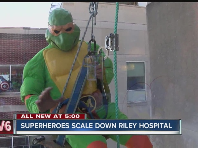 Superheroes scale down Riley Hospital
