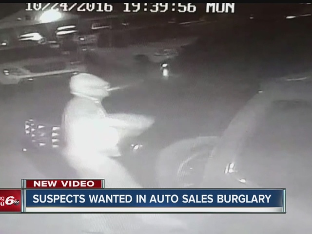 Suspects wanted in auto sales burglary