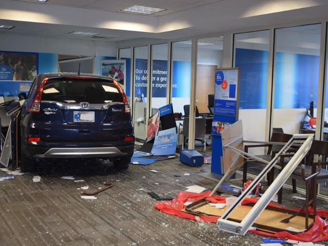 BMO Harris Bank branch damage after an SUV drove through the front door