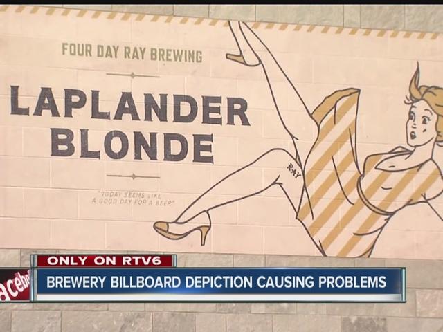 Brewery billboard depiction creating a stir