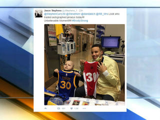 Warriors fan visited by Steph Curry at Riley