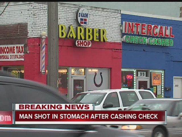 Man shot in stomach after cashing check in Indianapolis
