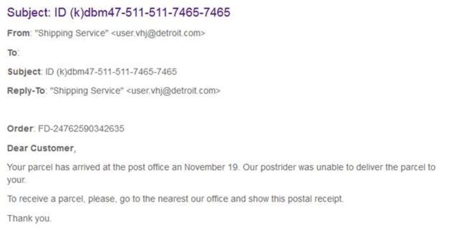 AG warns of emailed package delivery scams