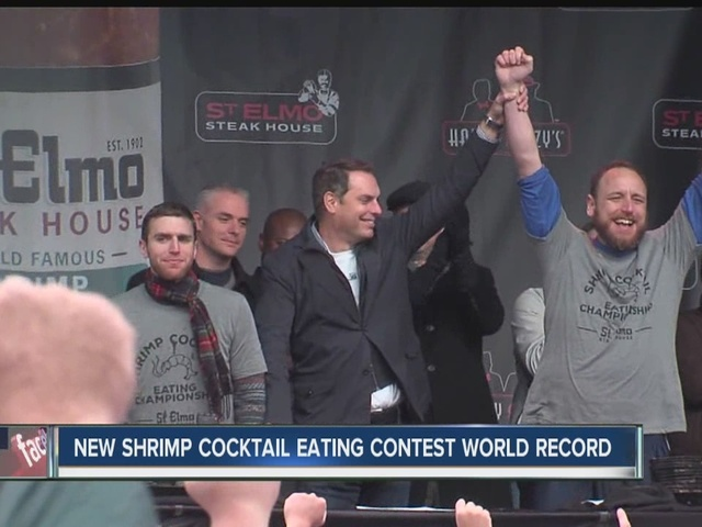 Chestnut sets new shrimp cocktail eating contest world record